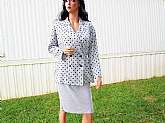 Vintage Women's Suit 80's Gray Black Polka Dots Suit Skirt & Double Breast Blouse Pencil Split Skirt Avon Newport News Sz 9/10 Formal or Casual Fashion