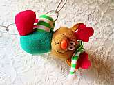 Christmas Reindeer Plush Doll Toy Clip On Vintage Novelty Elf Reindeer Stuffed Animal Toy Stocking Stuffer Hanging Red & Green Striped Hat Holiday Home Decor Ornament Figure