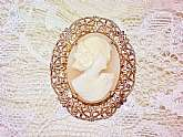 Gold Filigree Framed Carved Shell Cameo Brooch Vintage Pin Cream Pink Natural Shell Gatsby Girl & Flowers in Hair Mad men Brooch Pin Costume Jewelry Estate. This is a lovely hand carved shell brooch of a lovely Gatsby style lady, very detailed, with f