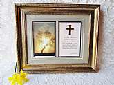 Framed Picture Tree & Cross w Scripture Vintage New Unused Wall Hanging Decor Double Religious Christian Spiritual Home Rectory Church Decor Easter Mother's Day Gift for Anyone. This is a vintage framed picture, never used or hung still in cardboard e