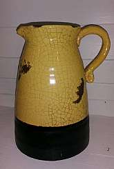 Beautiful Handmade Vintage Pitcher. Yellow Cracked Glaze with Brown Trim and Accents. Great Decorator Pc. Lovely addition for your Kitchen or Home Décor.Shipping available.Dimensions - Height approx. 9.5                        Width appro