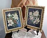 These Framed Flowers are sold separately. Please designate the one you have ordered by contacting me. They are each $15.00. They are not priced as a pair. There are two available for purchase.TWO Beautiful Antique Floral Paintings with Carved off white