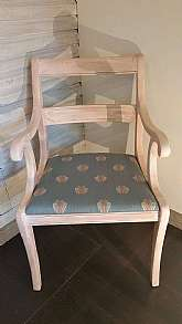 This one-of-a-kind, UPcycled, beautiful, shabby chic pink and cream, wooden CHAIRS reupholstered with custom fabric I've designed and created myself, are for sale!This fabric is a Linen-Cotton, the pattern is called ""