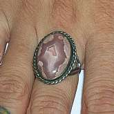 Large showy womens vintage sterling silver fancy agate ring. This is probably old old studio artisan jewelry and set with a large 20x12 agate gemstone.  Weighs 9.4grams and is a size 6.75.  Excellent condition and workmanship;looks amazing on.
