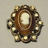 Gorgeous vintage Renaissance Revival tortoise cameo glass statement ring.   It is pretty heavy and has a big 1 1/8