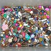 1/2 lb of vintage mixed lucite acrylic beads, cabochons, rhinestone flatbacks and other stones.
