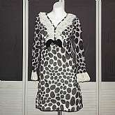 Vintage 60s polka dot mini dress a la Twiggy style with ruffled lace collar and sleeves.  This is so sweet and retrofabulous!  The style is classic 60s and the black and white polka dots so adorable.  Metal zip back and tagged a size 9 by vintage standard