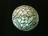 Silver Floral Engraved Medallion Brooch