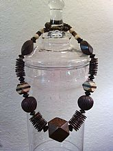 Chunky, animal print wood beads tribal necklace
