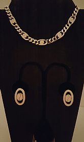 Shiny, gold tone and beige enamel jewelry set