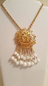 Vintage designer tassel statement necklace