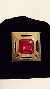 Square Solitaire Red Crystal Vintage Brooch