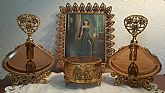 Antique Amber Ormolu Perfume Set