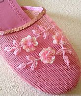 Bubble Gum Pink Floral Beaded Mesh Slippers