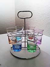 Vintage 7 Piece Colorful Bar Glass Set