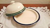 Marine colored bands stonewear dish made in USA