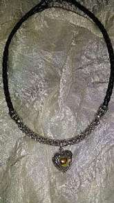 Black leather and silver vintage necklace