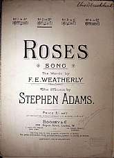 This piece of antiquarian sheet music was published in 1905 by the publisher, Boosey & Co.  It was arranged for the piano by Stephen Adams, and the lyrics written by F.E. Weatherly.  This piece of music will be a great acquisition for anyone that enjo