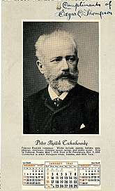 This vintage calendar, published by the Theodore Presser Co. of Philadelphia, PA is very unique because of the subject matter, famous composers.  This calendar has twelve images and short biographical entries for Tschaikowsky, Sousa, Gounod, Rachmaninoff,