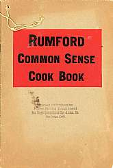 This cookbook, published circa 1930 was a marketing tool and promotional item for the Rumford Chemical Works product, Rumford Baking Powder.  Rumford Baking Powder is still being made and marketed today, even though the original company ceased to exist in