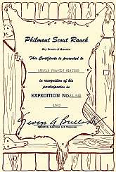 Calling all Boy Scouts!  This is a Certificate of Participation from Philmont Scout Ranch in New Mexico from 1952 issued to a Gerald Francis Winters.  The Philmont experience is, or at least was the pinnacle of Boy Scouting experiences.  If you are collec