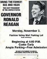 This is an original poster for an event at Fashion Valley Mall in San Diego, California promoting California Governor Ronald Reagan's run for President of the United States!  If you are, or know of a collector of political ephemera, this poster will be a