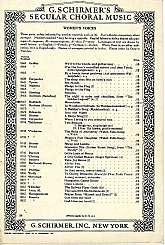 "This women's choral sheet music was published in 1941 by G. Schirmer, Incorporated of New York.  The title of the piece is ""Mountains"", and it was written by Oscar Rasbach, and arranged by Kenneth Downing for a three-part chorus of women's voice"