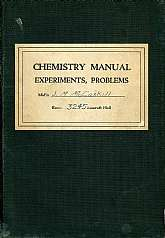 A wartime student chemistry manual from the United States Naval Academy in Annapolis, Maryland!!!  This 1941 book will probably be cherished by any alumna  of the USNA.  This book is a used textbook, and as such, it has many notations, underlines, and wil