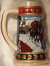 This stein was commissioned by Budweiser and Manufactured by Ceramarte of Brazil for either the 1993 or 1994 Christmas holiday season.  It is in excellent condition, and will be shipped in the original box.  If you collect breweriana, or beer steins in ge