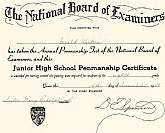 This is a 1948 award certificate issued by the National Board of Examiners and was issued to a Gerald Winters for having taken the Annual Penmanship Test and achieving a passing score.  This certificate is beautifully executed and in perfect condition.  I