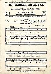 "This antiquarian music book, ""The Jennings Collection Of Supplementary Songs For Public Schools"", featuring the ""Zion, Awake"""" appears to be a teaching aid for the director or teacher of a school chorus.  This booklet will be cher"