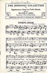 "This antiquarian music book, ""The Jennings Collection Of Supplementary Songs For Public Schools"", featuring the ""Youthful Dreams"" appears to be a teaching aid for the director or teacher of a school chorus.  This booklet will be cheris"