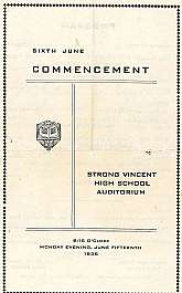 This is a high school commencement program from Strong Vincent High School from their exercises held on Monday, June 15th, 1936.  This should appeal to anyone that was there as a graduate, or the families of graduates from that year.  This would even make