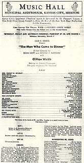 "This 1930s playbill for the Music Hall, Municipal Auditorium in Kansas City is for the production of ""The Man Who Came To Dinner"" by Moss Hart and George S. Kaufman, and directed by George S. Kaufman too.  This playbill will appeal to any collec"
