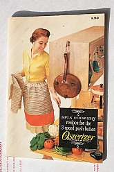 This soft-cover cookbook was published in 1966 by the manufacturer of the Osterizer, one of the hot small kitchen appliances of the period.  In addition to the recipes themselves, each one also contains a blatant advertising message for the unit.This bo