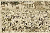 This is only a partial image of the original March, 1950 complete panoramic photograph.  My scanner isn't large enough to accommodate the whole image.  The actual photograph  you will receive shows the entire student population, and staff of the Winchell