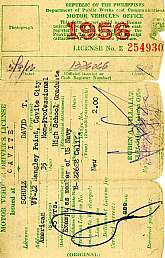This is a 1956 driver's license issued to a member of the U.S. Navy that was stationed in the Philippines at that time.  Collectors of militaria will probably find this license to be a unique and affordable addition to their collection.  As a used license