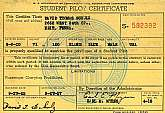 This is an original Student Pilot Certificate renewal issued in 1955.  The student was checked out and made solo flights in 1947 in the following aircraft, a Taylorcraft, a Cessna 140, and a Cub J-3, as well as having been authorized to make solo cross-co