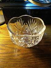 Vintage clear glass candy dish on a hexagon pedestal