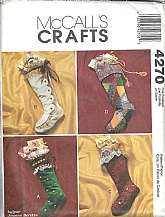 Vintage McCall's Christmas Stocking Pattern, Crafts, #4270, Uncut  This great vintage pattern is uncut and unused.  Package includes patterns and instructions to make four lined stockings, each approximately 18