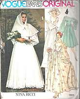 """Vogue Paris Original - Nina Ricci - #1363"" - Size 12  Label IncludedMisses' Bridal Dress, Bridesmaid, Belt, Slip and ScarfA wonderful design by Nina Ricci in 1975.  Floor, ankle, or three inches below mid-knee length dress with fitted bodic"