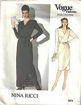 "Vintage Pattern - 1983""NINA RICCI Vogue Paris Original Pattern #1074 - Size 12 - UNCUT""Dress 2"" below mid-knee or evening length, has extended shoulders, shoulder pads, semi-fitted, front wrap bodice with tucked shoulder, (left side), s"