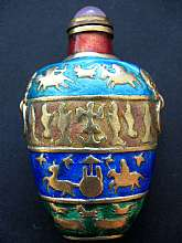 """Enameled Glass Snuff Bottle, China - with Case""This beautiful piece I have had for 50 years.  I have no information on the age of the piece.  When I was a little boy, I admired it sitting in my grandmother's large curio.  One of the objects s"