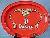 Baker's chocolate red oval metal tray