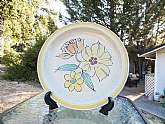 Vintage Style House Stoneware Sonata Daisy Round Cake Plate Platter *Made in Japan circa 1960's - 1970's *Retro style Cake platter with yellow trim and a beautiful floral pattern.*It is in excellent vintage condition with no chips, cracks, or any othe