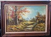 "Original Oil Painting Landscape Mountain River by artist N. Claver, beautiful autumn scenery.Oil Painting Wall Art. Ready To Hang in a beautifully finished Wood Frame. Painting size: 36""X24""with frame size: 44""X30.3"""