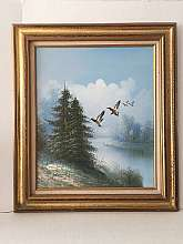 "original oil painting wild geese flying over the pond  with Frame in excellent condition, ready to hang.painting size: 19.69""X23.62""with Frame size: 28.35""X 32.28"""