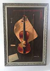 "Oil Painting of a Still Life with a Violin and Sheet Music, letter and keywith Frame size: 28"" X 40"""