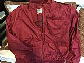 Maroon 1980's Outdoor Exchange Mens Members Only Style Jacket80s -Outdoor Exchange- Mens black polyester cotton poplin casual zippered Members Only style jacket with waist-length styling, rib knit cuffs, collar lining, pocket trim and waistband, 3 pla