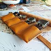 Leather Roll Case bag made of genuine soft leather.All the Leather  rolls are handmade. Every single one is handmade and hand sewed with strong and waxed threads. The leather that I use is genuine, it's high quality and carefully chosen. Offer does no